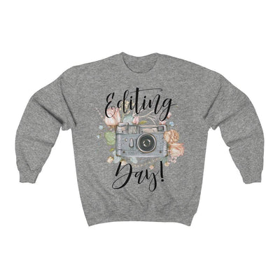 Printify Sweatshirt Sport Grey / S Editing Day Vintage Camera Unisex Sweatshirt