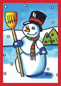 Snowman with Broom by Joey