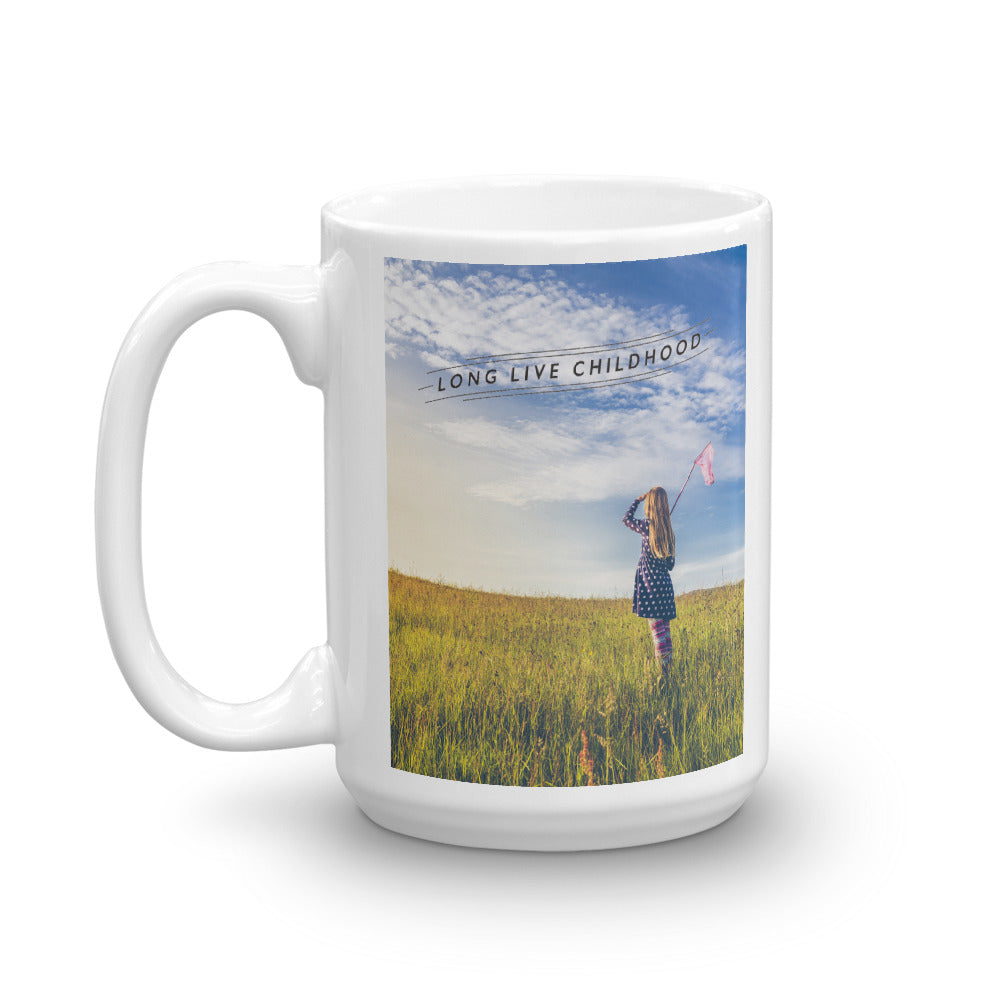 CHOC Children's Long Live Childhood Mug - Girl with Butterfly Net