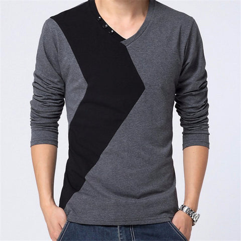 Long Sleeve T Shirt, Men's New V Neck Patchwork Bottons Slim Fit Tops