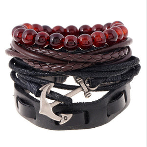 DIY Brief Style Weave Anchor Leather Bracelet For Men