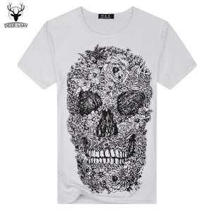 Skull Pattern Print t shirt Casual Short Sleeve