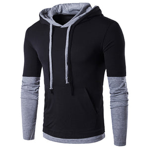 Men's Hooded Stitching Design, Tops Long Sleeve Slim