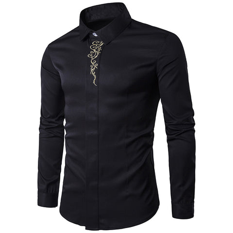 High Quality Turn Down Collar Long Sleeve Embroidery Dress Shirts S-2XL