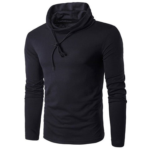 Men's Sling T Shirt Solid Turtle Neck Long Sleeve TShirt Men Slim Fit
