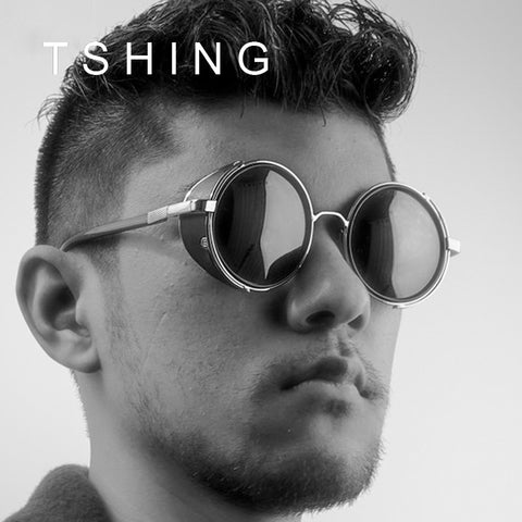 TSHING Steampunk Men's Vintage Round Sunglasses Men Women Brand Designer Retro Steam Punk Circle Mirror Sun Glasses CE UV400