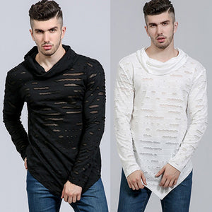 Stylish Hip-hop Long T shirt Cotton Causal Top Ripped Holes Asymmetrical Long Sleeve T-Shirt Tees