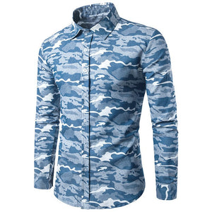 Men Long Sleeve Lapel Neck Cotton Casual Shirts Army Camo Clothing
