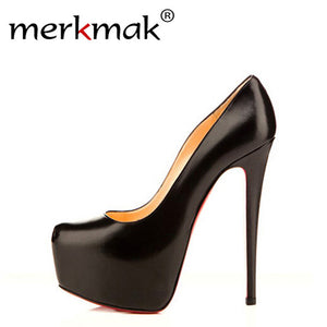 Merkmak Stylish Sexy High Heels Brand 14cm Heel Bottom