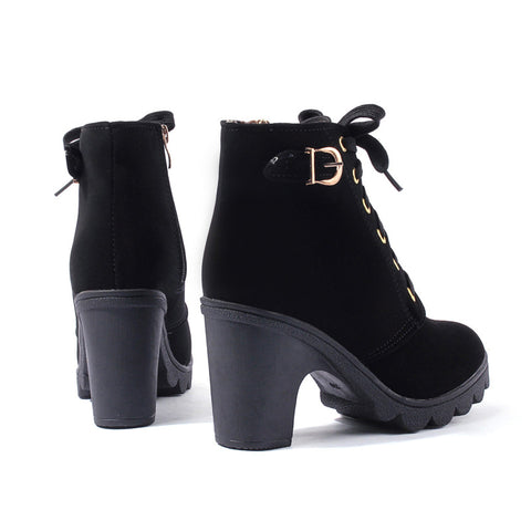 Women Platform Thick Heels Leather Boots