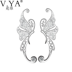 V.YA  Natural CZ Crystal Butterfly Earring Pattern 100% 925 Sterling Silver
