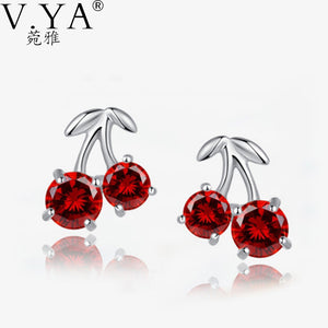 S925 Silver Cubic Zircon Red Crystal Sweet Cherries Stud Earring 100% Real 925 Sterling Silver Earrings for Women CE123