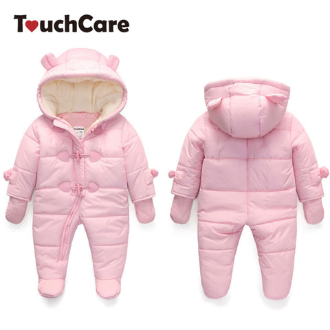 Touchcare 0-24M Baby Fleece Bear Ears Rompers Infant Girls