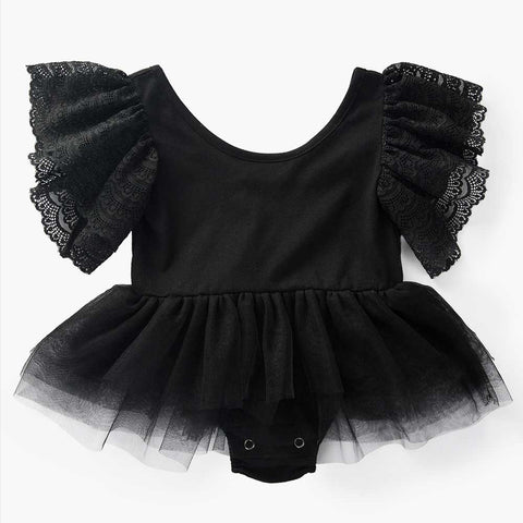 Backless Ruffle Mesh Infant Baby Jumpsuit