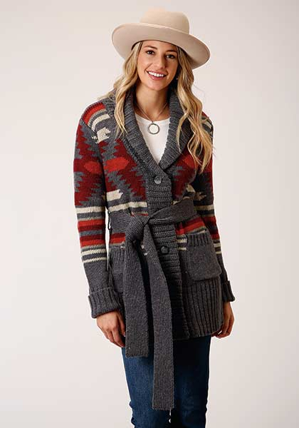 AZTEC KNIT SHAWL COLLAR SWEATER