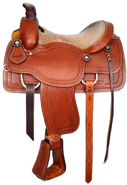 Circle S Roper With Alligator Print SeaT. Montura Para Team Roping.