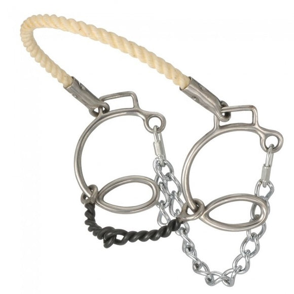 FRENO BOSAL AMERICANO.  Kelly Silver Star Cheek Twisted Sweet Iron Snaffle w/Rope Nose , HerraduraDeOro - HerraduraDeOro