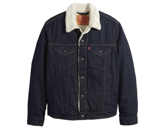LEVI'S MEN'S JUNIPER SHERPA LINED TRUCKER DENIM JACKET