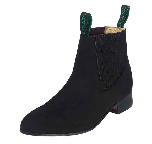 BOTINE CHARRO LA BARCA COLOR NEGRO GAMOSA. MEXICAN BLACK SUEDE LEATHER ANKLE BOOT