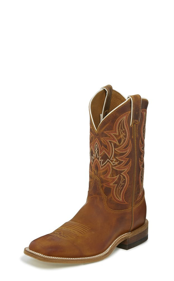 JUSTIN MEN'S BENT RAIL AUSTIN DISTRESSED COGNAC COWBOY BOOTS BR735