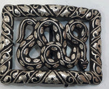 MEXICAN SILVER AND BROWN SNAKE BUCKLE , HerraduraDeOro - HerraduraDeOro