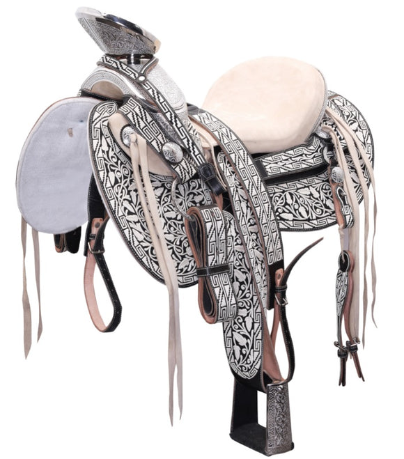Traditional Specialty Mexican Black Charro Saddle , HerraduraDeOro - HerraduraDeOro