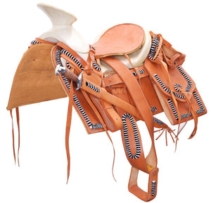 Tan Mexican Charro Saddle With a Classic Art Work , HerraduraDeOro - HerraduraDeOro