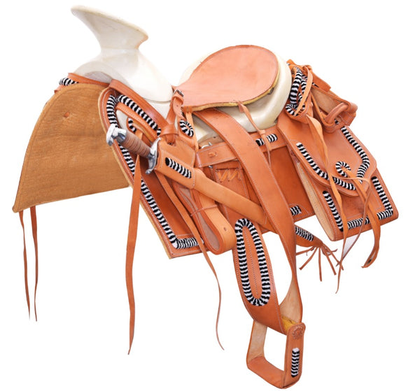 Tan Mexican Charro Saddle With a Classic Art Work