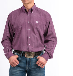 MENS PURPLE AND WHITE GEO PRINT BUTTON-DOWN WESTERN SHIRT , HerraduraDeOro - HerraduraDeOro