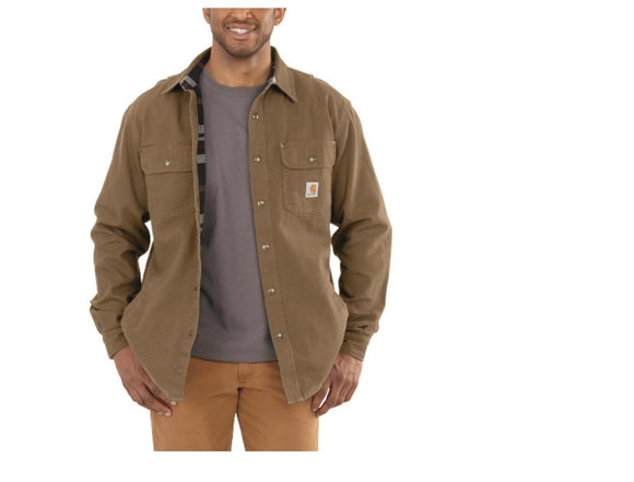 Frontier Brown Men's Weathered Canvas Shirt Jacket , HerraduraDeOro - HerraduraDeOro