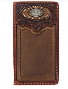 SILVER CREEK CATTLE DRIVEN CHECKBOOK WALLET WITH A LONGHORN , HerraduraDeOro - HerraduraDeOro