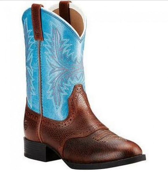 ARIAT KIDS FIDDLE BROWN / MALIBU BLUE HERITAGE HACKMORE BOOT , HerraduraDeOro - HerraduraDeOro