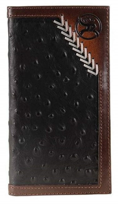 Hooey Roughy Black Ostrich Print Rodeo Wallet