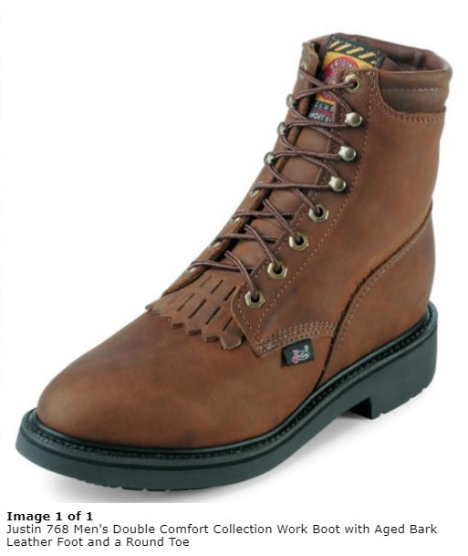 Justin Boots: Men's 768 USA-Made Brown 6-Inch EH Leather Work Boots
