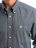 MENS CINCH NAVY AND WHITE GEO PRINT BUTTON-DOWN WESTERN SHIRT , HerraduraDeOro - HerraduraDeOro
