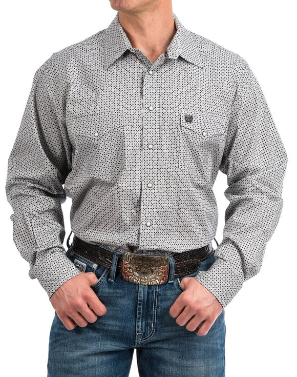 Mens Gray, Purple and Black Geo Print Snap Front Western Shirt , CINCH - HerraduraDeOro