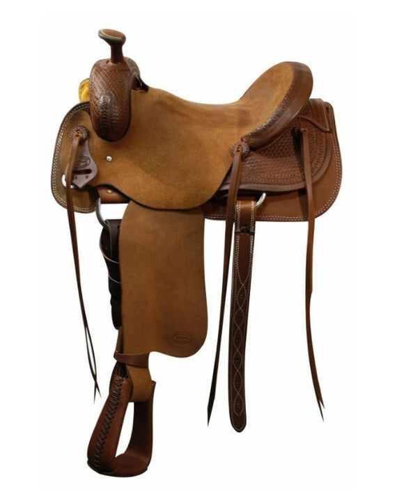 Roper Saddle with Basket Weave Tooling Full QH Bars Warrantied for Roping 16