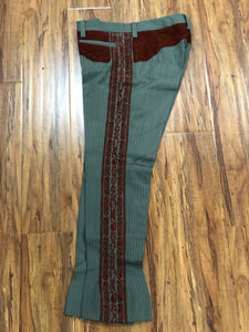 AUTHENTIC CHARRO PANTS THAT ARE DARK PISTACHIO GREEN COLOR WITH BRICK SUEDE LEATHER STITCHED STENCEIL ART WORK , HerraduraDeOro - HerraduraDeOro