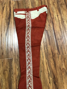 AUTHENTIC CHARRO PANTS THAT ARE LIGHT BRICK COLOR WITH A BONE COLOR SUEDE LEATHER STITCHED STENCEL ART WORK , HerraduraDeOro - HerraduraDeOro