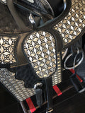 BLACK MEXICAN SADDLE WITH  SLIVER EMBROIDERY AND OSTRICH LEATHER , HerraduraDeOro - HerraduraDeOro