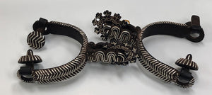MEXICAN CHARRO SPURS WITH A SPANISH ANTIQUE STAR THAT ARE SILVER INLAY , HerraduraDeOro - HerraduraDeOro