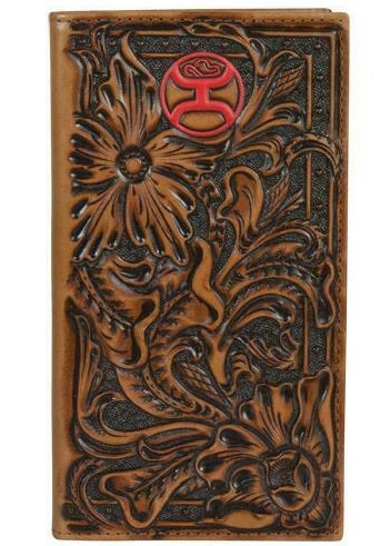 HOOEY RODEO WALLET FLORAL TOOLING RED LOGO