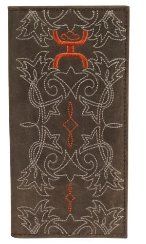 Hooey Brown and Orange Stitched Rodeo Wallet , HerraduraDeOro - HerraduraDeOro
