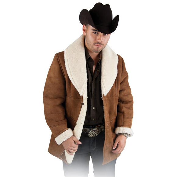 CHAMARRA  MARLBORO LARGA DE BORREGO.  MEN'S SHEEPSKIN RIDING JACKET
