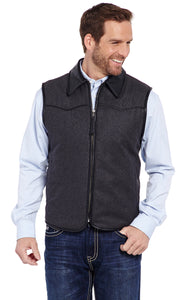 Zip Front Wool Melton Vest With Faux Leather Trim , CRIPPLE CREEK - HerraduraDeOro