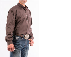 CINCH BROWN CLASSIC FIT LONG SLEEVE SHIRT , HerraduraDeOro - HerraduraDeOro