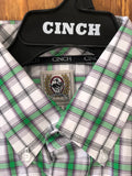 MEN'S GREEN, WHITE AND PURPLE PLAID BUTTON-DOWN SHIRT , HerraduraDeOro - HerraduraDeOro