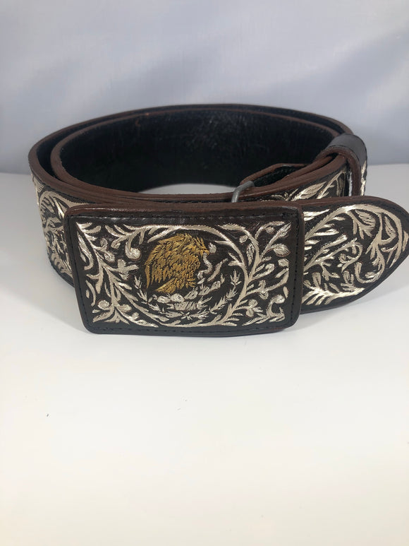 CINTO DE PLATA CON ORO CAFE. MENS BROWN CHARRO SLIVER EMBROIDERED BELT