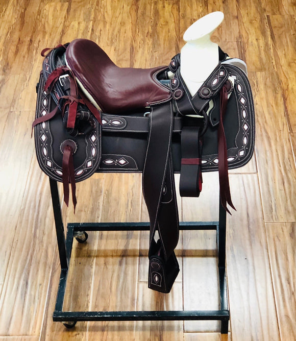 Montura Charras Para Niños . Kids DARK WINE & White Mexican Charro Saddle