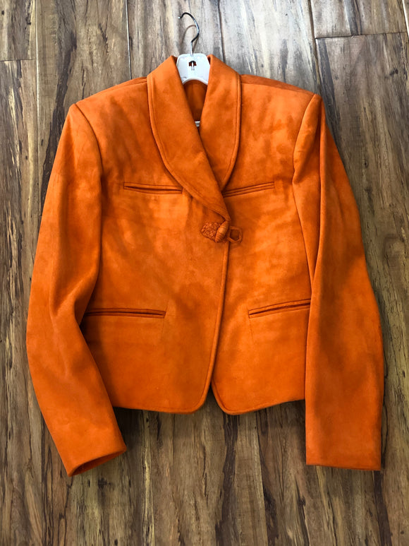 CHAQUETA CHARRA 100% GAMUZA COLOR ZANAHORIA. CHARRO JACKET CARROT COLOR
